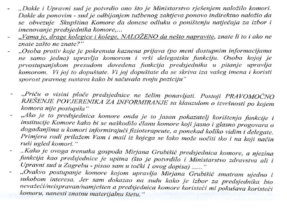Tekst maila Gorana Cvetojevića delegatima Skupštine Komore fizioterapeuta